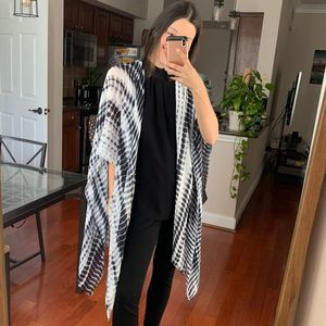 Michael Stars  Black Grey White Tie Dye Scarf